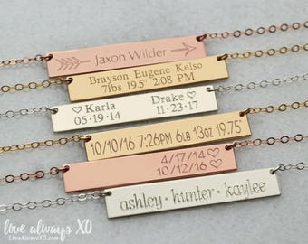Mom necklace, new mom jewelry, mom necklace with kid name, personalized necklace for mom, Personalized Bar Necklace, Gold Bar Necklace LA104