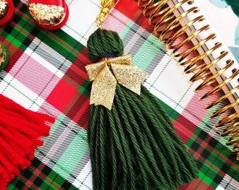 Green Planner Tassel, Yarn Tassel, Planner Decoration, Bag Charm, Planner Charm, Green Tassel, Gold Bow, Plaid Ribbon, Planner Accessory