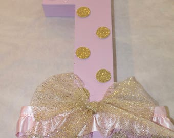 "Minnie Mouse Number ""1"" Pink/Gold"