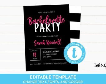 Editable Bachelorette Party Invitation - Templett Bachelorette Invitation - Pink Invitation - Printable Invitation - Navy Bridal Shower