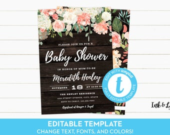 Rustic Baby Shower Invitation Template - Templett Baby Shower - Peach Shower Invitation - Watercolor Baby Shower Invitation - Printable