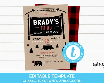 Flannel Birthday Invitation - Lumberjack Birthday Invitation - Birthday Invitation for Boy - Printable First Birthday Invitation - Templett