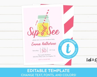 Sip and See Invitation Girl - Sip and See Party - Girl Sip and See Invite - Editable Invitation - Printable Sip & See Invitation - Templett
