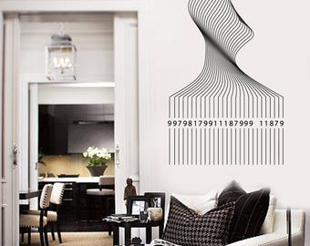 Wall Vinyl Decal Barcode Lines Vector Decoration Home Decor (#2680dn)