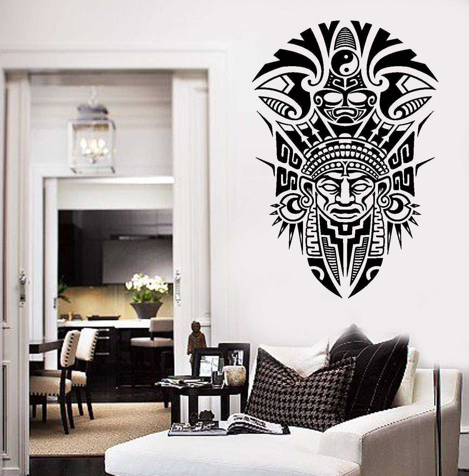Wall Vinyl Decal Mask Mayan Ancient Tribal Indians Living Room Decor ...