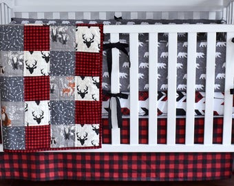 Lumberjack Crib bedding, antlers, bear, woodland nursery, red buffalo plaid, red and black , modern nursery, quilt, bumpers, deer, skirt