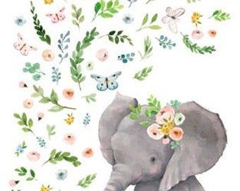 Floral elephant Minky Blanket, safari blanket, elephant , crown, flowers, baby girl, princess