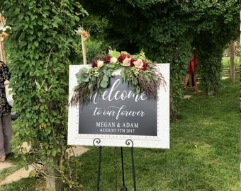 Welcome to Our Forever Decal, Wedding Signs, Wedding Decor, Wedding Welcome Sign, Rustic Wedding Decor, Welcome Wedding Sign, Wedding Sign