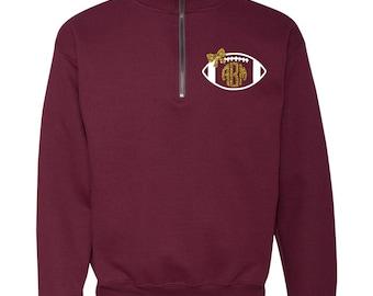 Football Glitter Monogrammed Quarter Zip Pullover Sweatshirt (Unisex)
