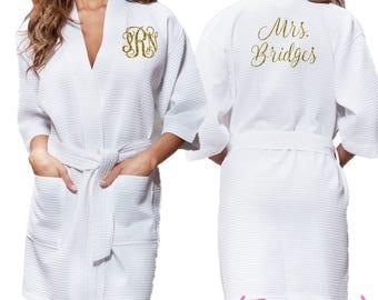 White Waffle Robe - Glitter Monogram Personalization - Bridal Party Bridesmaid Robe