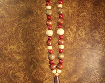 Wooden Beaded Necklace with Horus Pendant