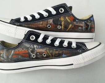 Hand painted sneakers: Salvador Dali shoes, painted low tops, painted converse, Narcissus shoes