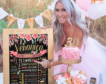 Printable ADULT 30th Birthday chalkboard sign 20th 40th 50th birthday Floral Flowers chalk board milestone cake smash fun gift for her (331)