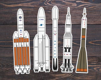 Rocket Ship Space Stickers - Saturn V Art Decor - NASA Space X Shuttle/Station/Mission - Science Space Gifts/Astronaut Decal - Rockets Vinyl
