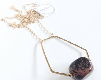 Pentagonal Pendant Necklace with Mahogany Obsidian, Hand Hewn Pentagon Bead Frame in Brass & Gold Plated Chain, Red Black Geometric Necklace