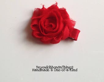 Mini Shabby | Red Flower | Hair Clips for Girls | Toddler Barrette | Baby Clips | Kids Hair Accessories | Grosgrain Ribbon | No Slip Grip