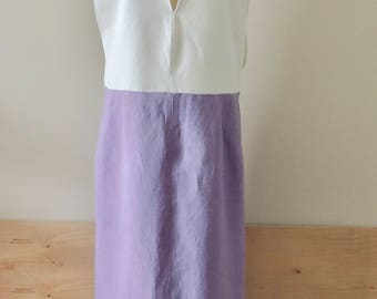 Linen, Rayon, cotton, white, pullover, v neck, dress, skirt, large armhole, layering