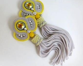 Yellow Tassel Earrings, Long Clip on Earrings with tassel, Soutache Earrings, Sparkling Tassel Earrings gift for sister