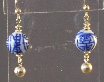 Blue and White Chinese Porcelain Longevity Earrings All Gold Filled
