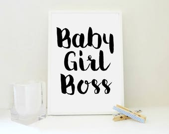 Baby Girl Boss No2 Print, Baby Print, Printable Art Print, Girl Boss Print, Girl Boss Poster, Girl Boss Sign, Gift for Girl, in Black & Pink