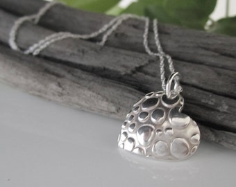Heart Pendant with Droplets in Fine Silver | Heart Shaped Silver Rain Pendant | Solid Silver Droplet Necklace | Fine Silver Heart Pendant