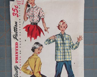 1954 Simplicity 4811 Shirt Blouse Top Misses and Teen Junior Size 12 Bust 30