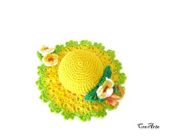 Crochet Pincushion, Yellow and Green Pincushion, Handmade Pincushion, Sewing accessories, Puntaspilli (Cod. 61)