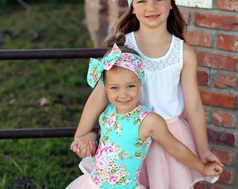 Blue Floral Headband, Matching headbands, Mommy and Me, Big Sister Little Sister,  Bow Heaband, Hairbow, Hair Accessories, Baby Headbands