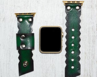 Green Leather apple watch band 38mm / 42mm // apple watch accessories - leather apple watch strap - iwatch band leather - lugs adapter
