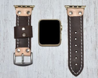 Brown Apple watch strap leather // apple watch band 42mm leather - iwatch strap - iwatch band 38mm - lugs adapter accessories for women