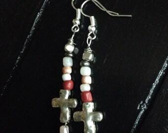 Silver Boho Cross Dangle Earrings