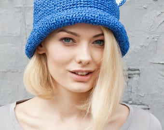 Summer | Cat | Hat  | Crochet |Raffia | Dark blue