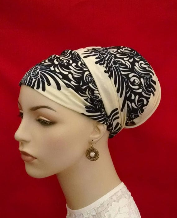 Swirl blossoms sinar tichel, tichels, head scarves, chemo scarves, hair snoods