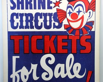 """Vintage """"Shrine Circus"""" Tickets For Sale Clown Sign 1960s-Circus Ticket Vendor"""