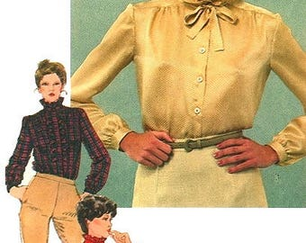 Vintage Blouse/Top Sewing Pattern UNCUT Simplicity 9713 Miss Size 14 Long Sleeve with Detachable Jabot
