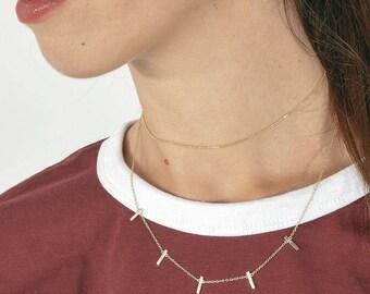 Delicate beaded choker - minimalist gold choker - dainty silver choker - gift ideas - layered chokers - layering necklace - trendy choker