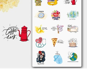 Holiday Stickers, Summer Holidays, Spring Holidays, Holiday Stickers Erin Condren, Happy Planner, Passion Planner, Filofax, ECLP