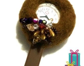 Chocolate Felted and Beaded Watch Brooch, Unique Designer Brooch Holiday Gift Guide, On Trend Gift, Free Local Shipping