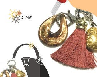 Tan Tassel Key Ring, Copper Bag Charm, Heart Dangle, Variety Key Rings, On Trend Gift, Stylish Gift, Teacher Xmas Gift, Free Local Shipping