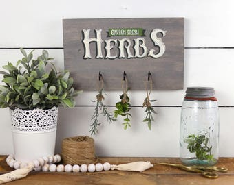 Herb Kitchen Wood Sign - Herb Garden Wall Art - Farmhouse Wood Sign - Rustic Wall Decor - Kitchen Wall Decor