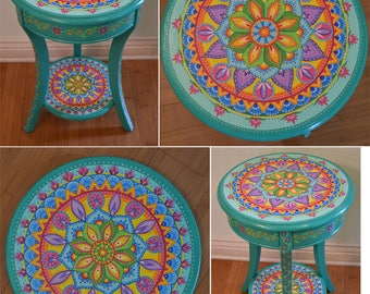 Hand painted round accent table. Painted Furniture, Boho Style. Solid wood. 26.5x18 inches. Mandala table.