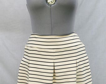 Navy and beige striped jersey pleated skirt - summer skirt - stretchy striped pleated skirt - Hand made - Made in France