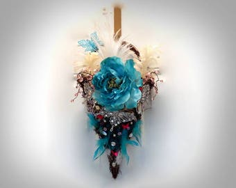 Turquoise Feather U0026 Flower Hanging Basket Teal Flat Back Basket Teal Peony  Basket Aqua Flower Basket