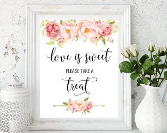 Love is Sweet printable dessert table Love is Sweet Sign Wedding Buffet Sign Gold Take a Treat Sign Weddind decor Bridal Shower idwr24