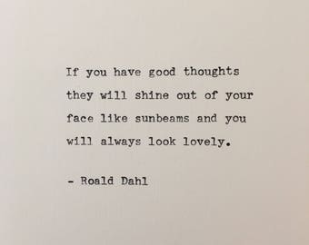 Roald Dahl quote hand typed on antique typewriter valentines scrapbooking