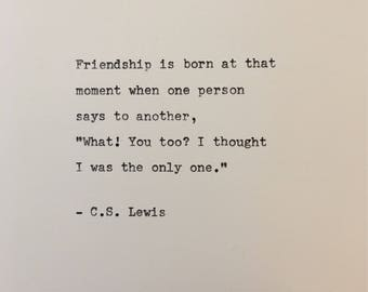 C.S. Lewis quote hand typed on antique typewriter scrapbooking
