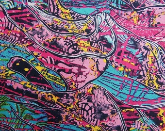 "Dress Fabric, Multicolor Fabric, Abstract Print, Decorative Fabric, Quilt Material, 44"" Inch Cotton Fabric By The Yard ZBC7888C"