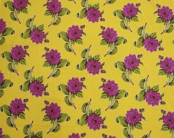 "Dress Fabric, White Floral Print, Yellow Fabric, Sewing Fabric, Home Accessories, 41"" Inch Cotton Fabric By The Yard ZBC6239B"