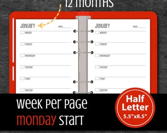 Undated 12 Months Week per page Printable Planner, Monday Start, A5 Planner, Half Letter inserts, Weekly planner #half012