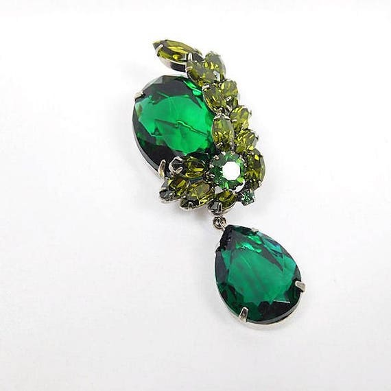 Emerald Green Rhinestone Dangle Brooch